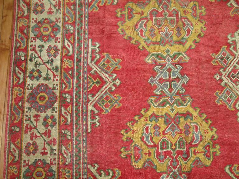 Mid-20th Century Room Size Antique Turkish Oushak Carpet For Sale