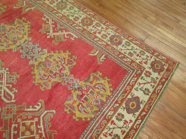 Wool Room Size Antique Turkish Oushak Carpet For Sale