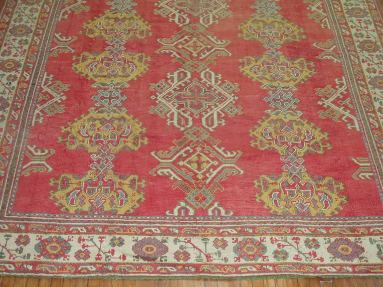 Room Size Antique Turkish Oushak Carpet For Sale 1