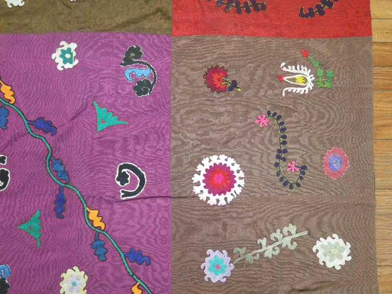 One of a kind colorful box motif Suzanni embroidery backed in cotton.