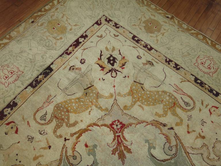 Antique Agra Indian Hunting Scene Carpet For Sale At 1stdibs