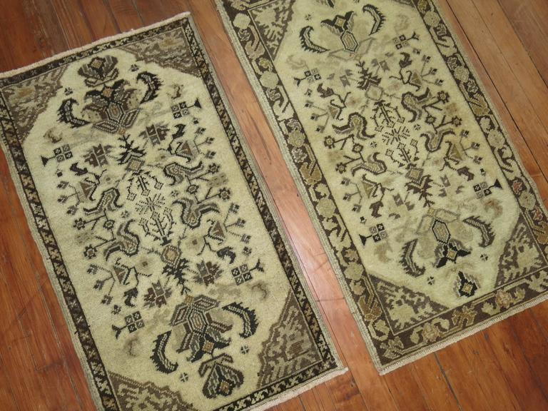 Pair of Turkish Oushak Anatolian Rug Mats In Excellent Condition For Sale In New York, NY