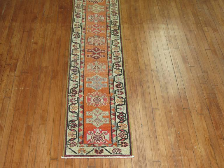 Adam Style Bright Orange Narrow Vintage Turkish Runner 2' x 12' For Sale