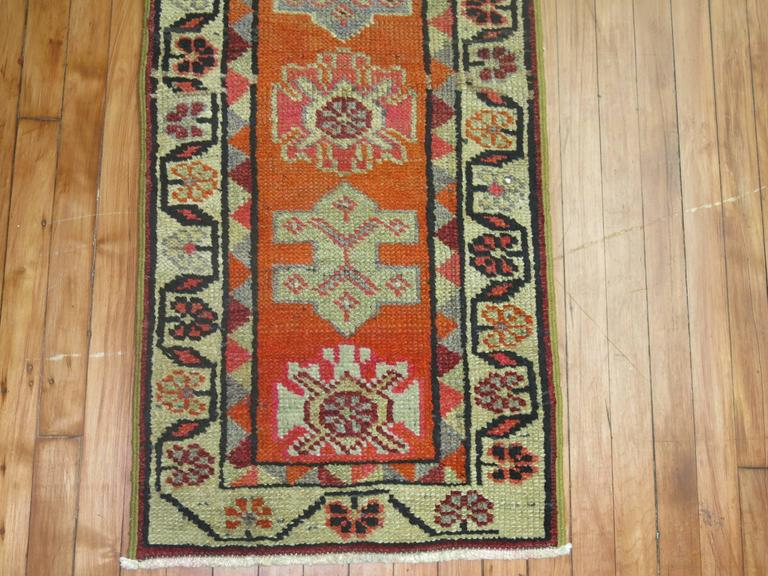 Hand-Knotted Bright Orange Narrow Vintage Turkish Runner 2' x 12' For Sale