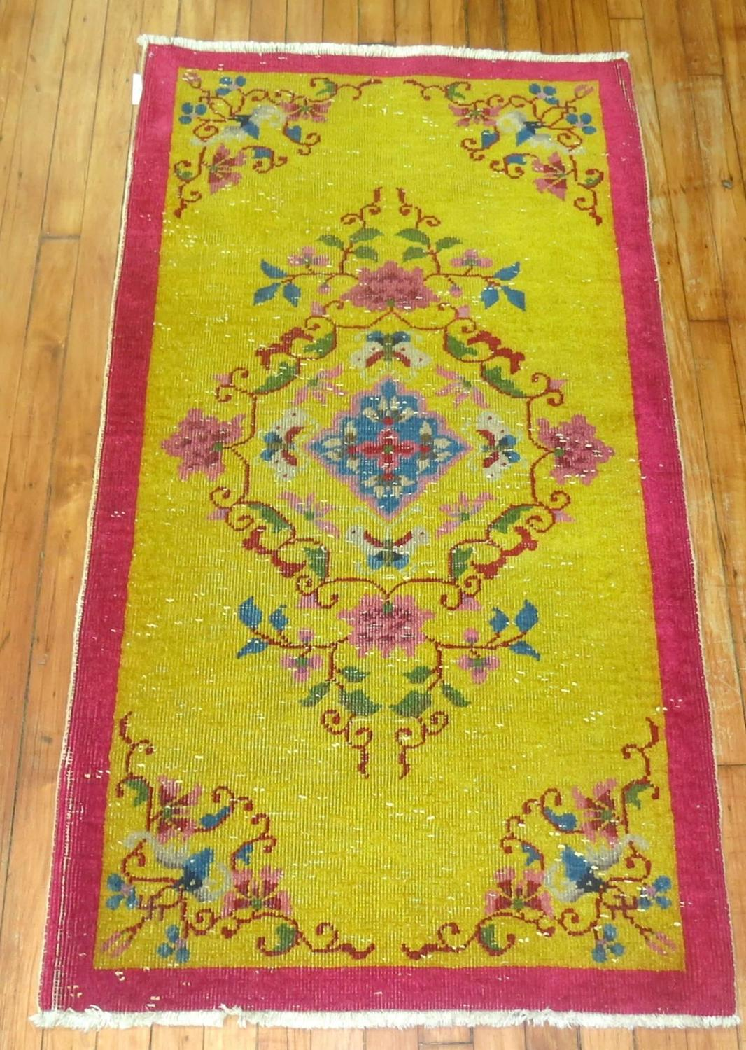 Chinese Art Deco Throw Rug In Yellow And Pink At 1stdibs