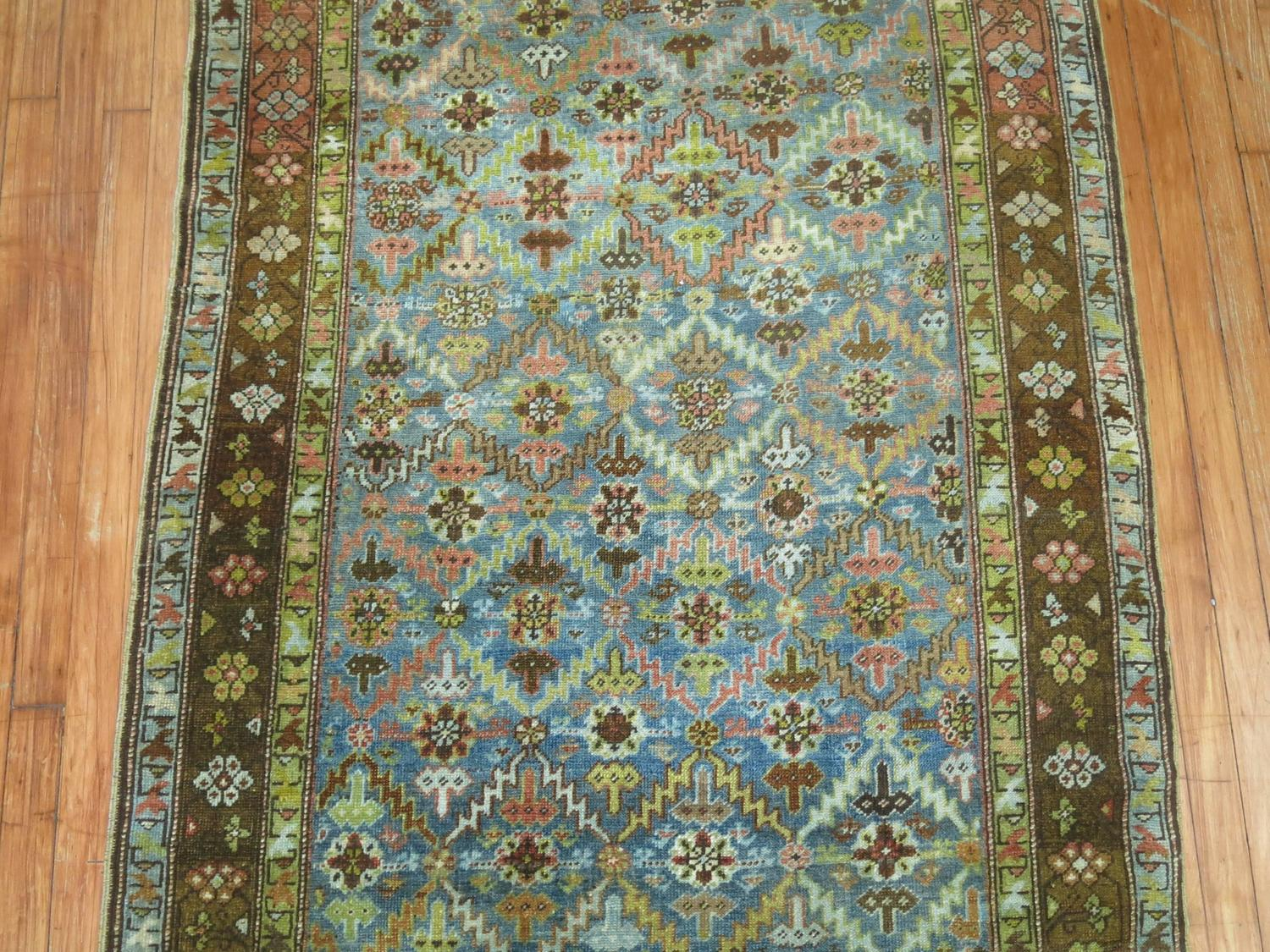 Karabagh Runner With Turquoise And Chartreuse For Sale At