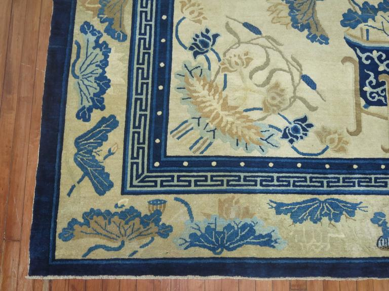 Cotton Antique Chinese Peking Rug For Sale