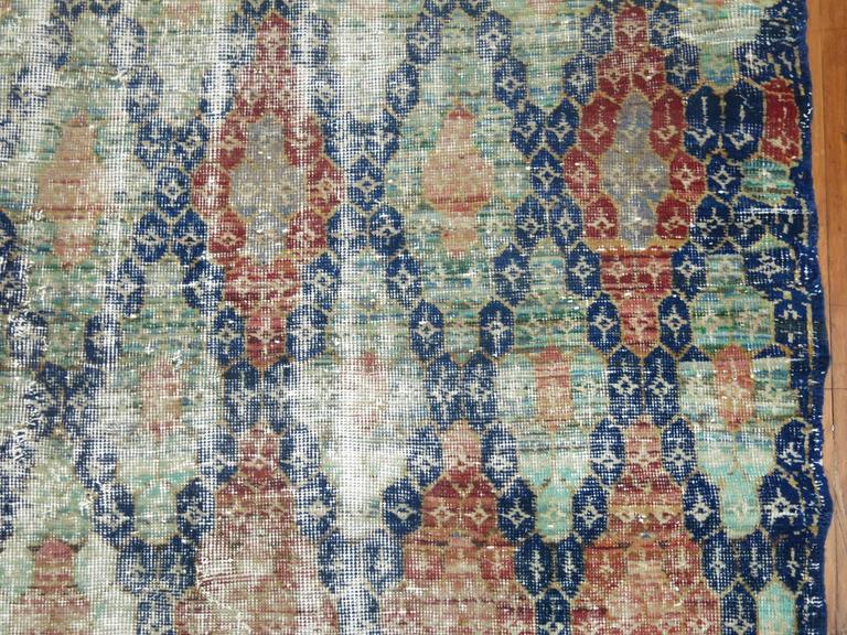 Shabby Chic Vintage Anatolian Deco Style Carpet In Fair Condition For Sale In New York, NY
