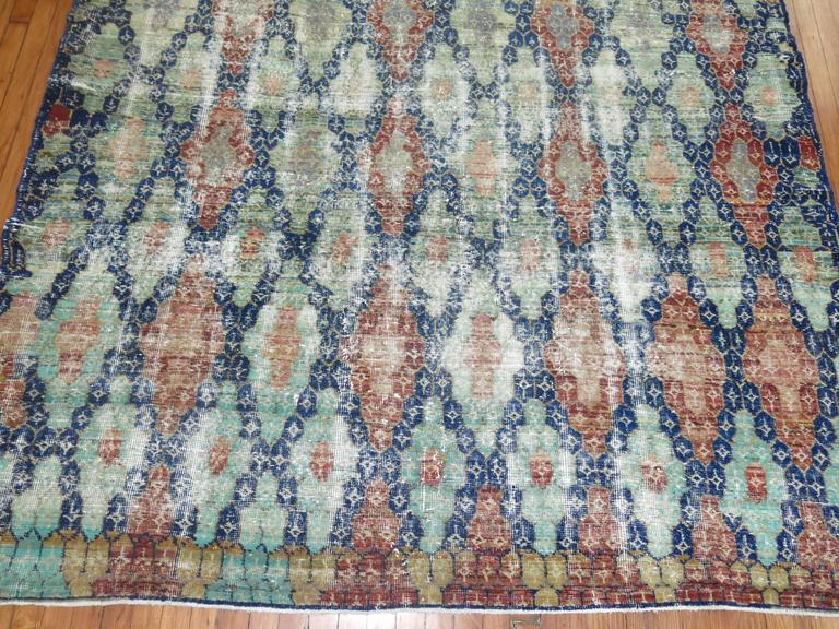Turkish Shabby Chic Vintage Anatolian Deco Style Carpet For Sale