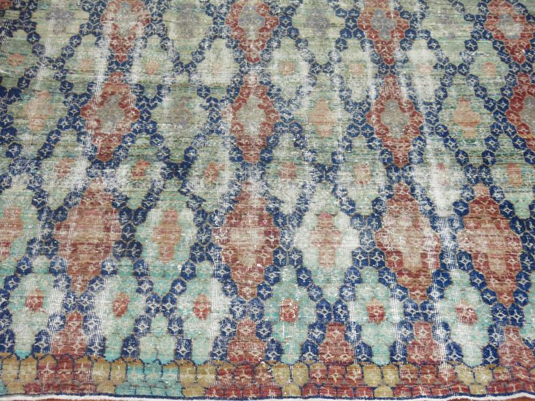 Wool Shabby Chic Vintage Anatolian Deco Style Carpet For Sale