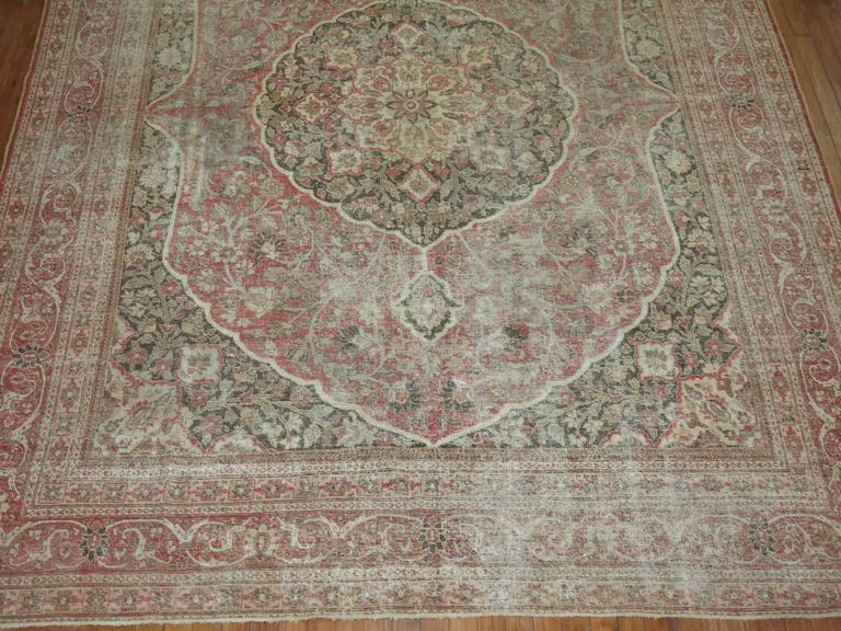 Shabby Chic Persian Tabriz Rug For Sale 3