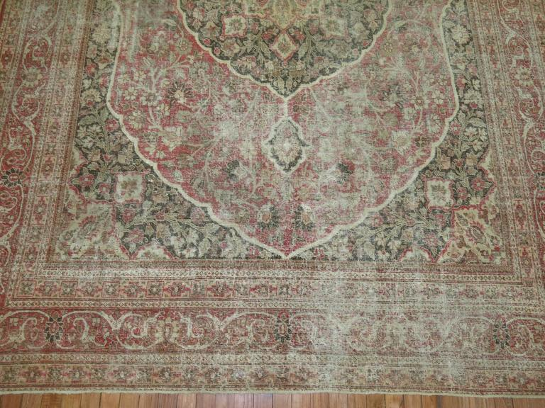 20th Century Shabby Chic Persian Tabriz Rug For Sale