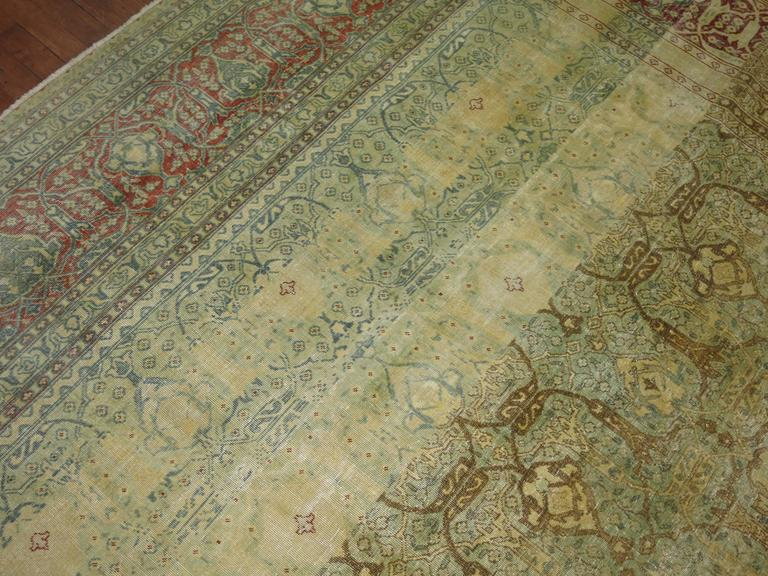 Wool Antique Persian Isfahan Carpet For Sale