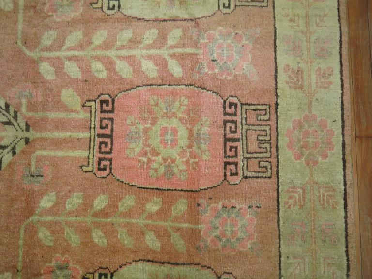 Mid-20th Century Pink Samarkand Khotan Rug For Sale