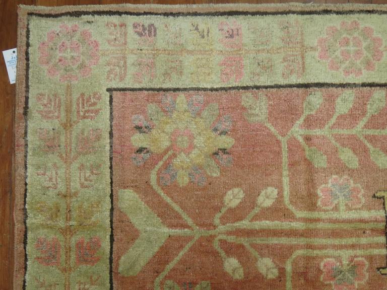 East Turkestani Pink Samarkand Khotan Rug For Sale