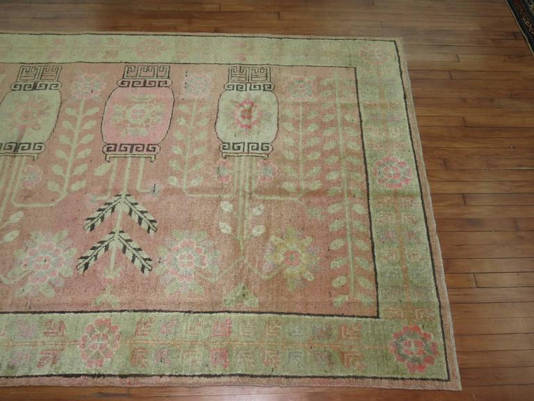 Pink Samarkand Khotan Rug In Excellent Condition For Sale In New York, NY