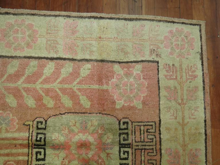 Wool Pink Samarkand Khotan Rug For Sale
