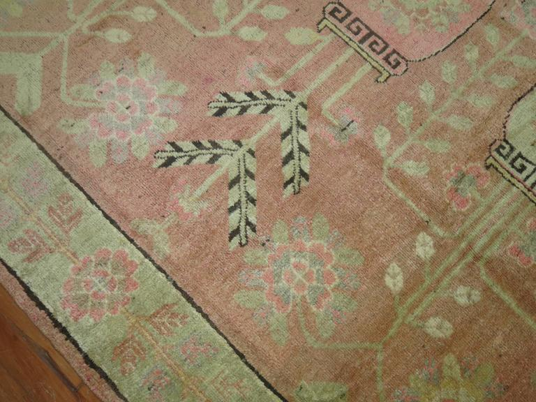 Pink Samarkand Khotan Rug For Sale 1