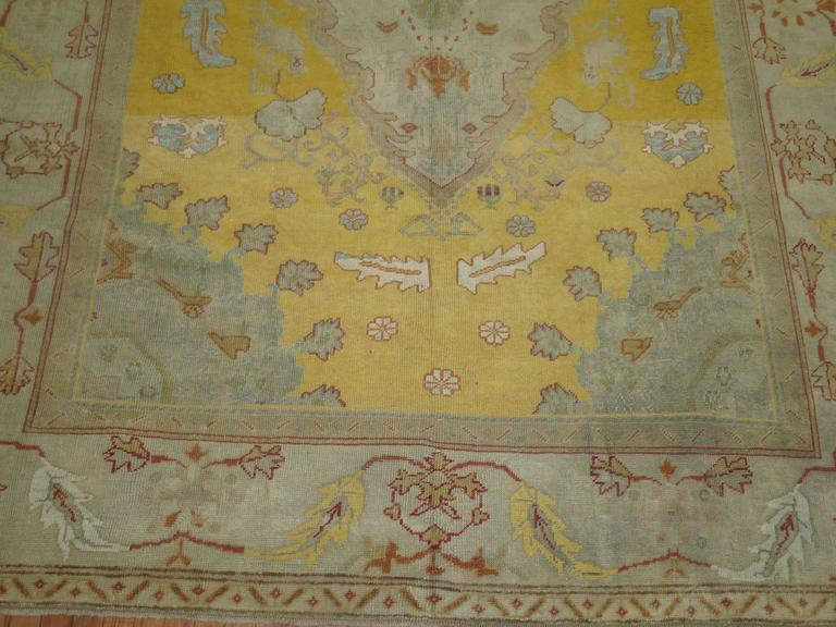 Yellow Field Antique Oushak Rug 2