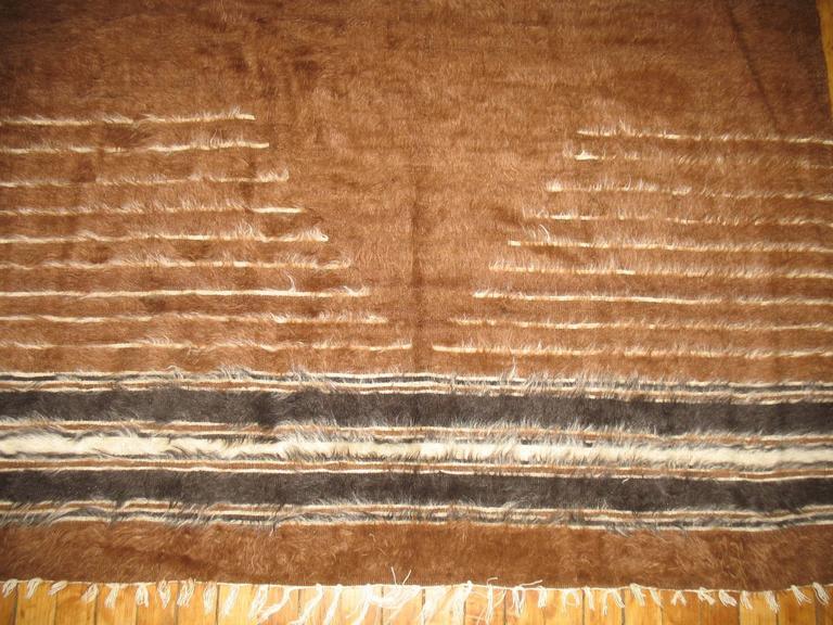 Moorish Brown Vintage Turkish Mohair Blanket Rug For Sale