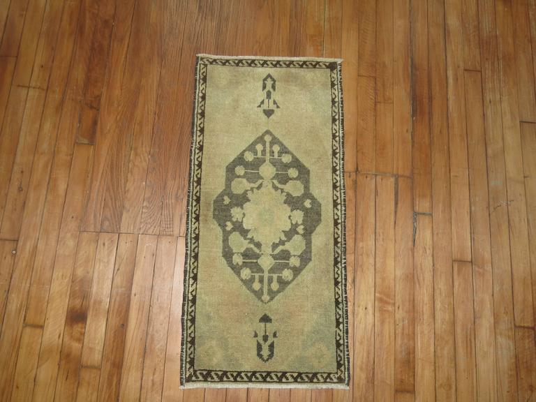 Oushak Pair of Vintage Turkish Rug Mats For Sale