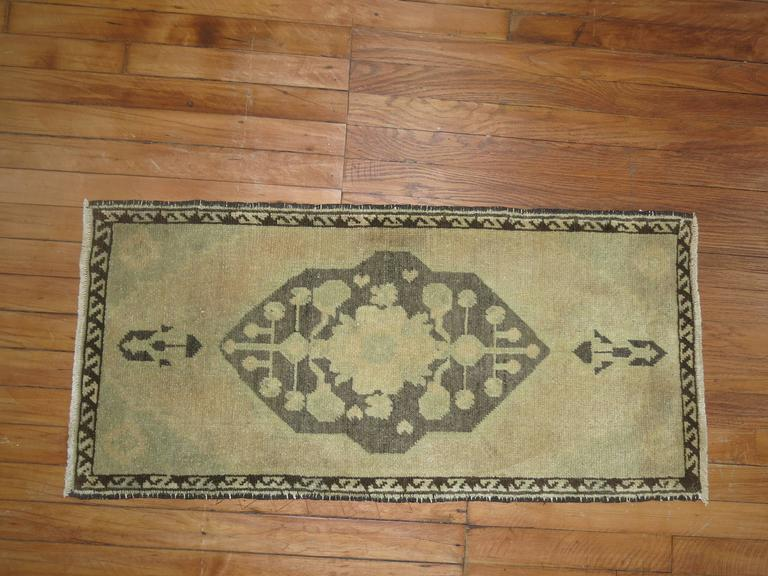 Hand-Knotted Pair of Vintage Turkish Rug Mats For Sale