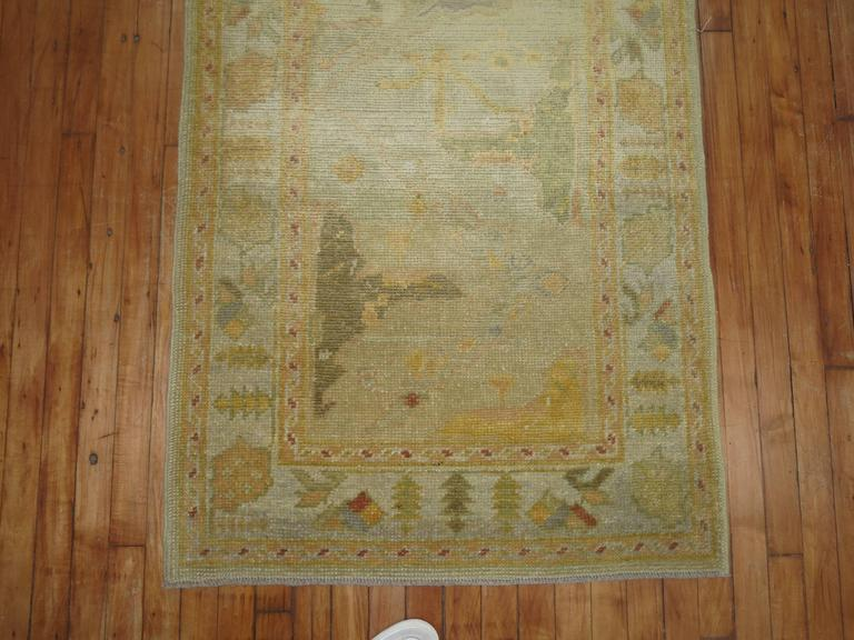 Hand-Knotted Gold Brown Vintage Inspired Turkish Runner For Sale