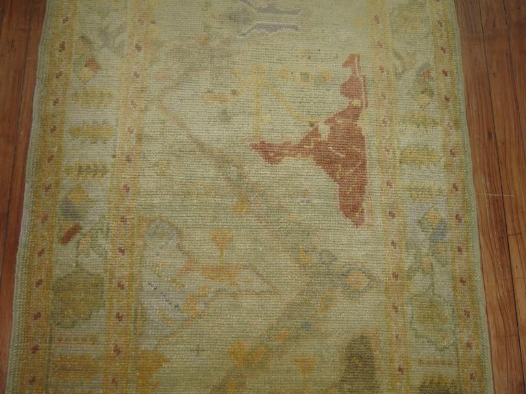 Gold Brown Vintage Inspired Turkish Runner In Excellent Condition For Sale In New York, NY