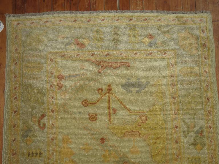 Wool Gold Brown Vintage Inspired Turkish Runner For Sale