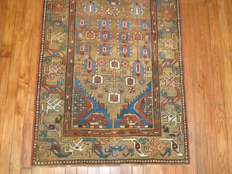 Heriz Serapi Tribal Camel Persian Bakshaish Runner, Early 20th Century For Sale