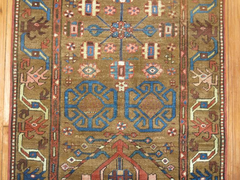 Hand-Woven Tribal Camel Persian Bakshaish Runner, Early 20th Century For Sale