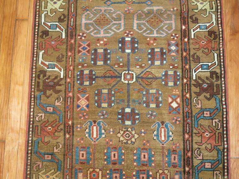 Wool Tribal Camel Persian Bakshaish Runner, Early 20th Century For Sale