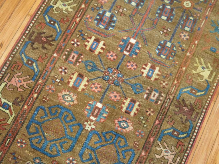 Tribal Camel Persian Bakshaish Runner, Early 20th Century In Good Condition For Sale In New York, NY