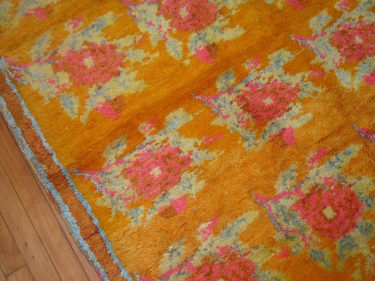 Vintage Turkish Konya Floral Carpet With Pink Flower