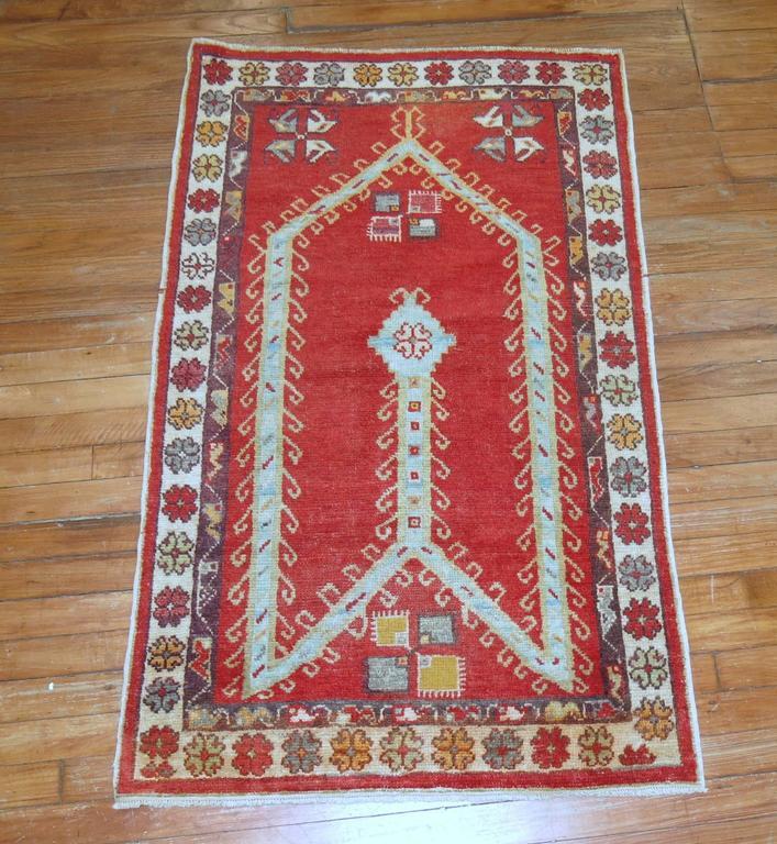 Turkish Ground Rug: Antique Turkish Oushak Prayer Rug For Sale At 1stdibs