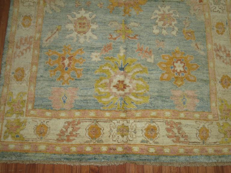 Light Blue Orange Vintage Inspired Oushak Rug In Excellent Condition For Sale In New York, NY