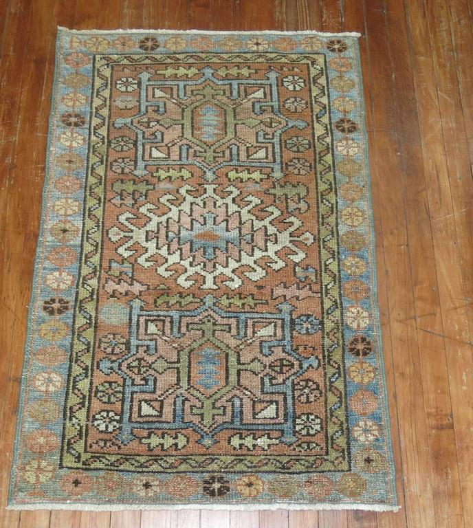 Pasargad Ny Persian Hand Knotted Wool Light Blue Ivory: Persian Heriz Throw Rug With Light Blue Accents For Sale