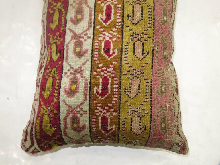 Anglo-Indian Colorful Turkish Ghiordes Rug Pillow For Sale