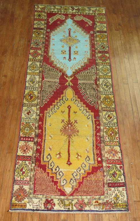 Anatolian Oushak Runner with Electric Blue and Gold Medallions 2