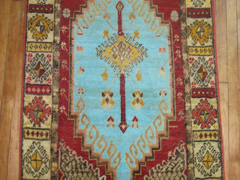 Anatolian Oushak Runner with Electric Blue and Gold Medallions 3