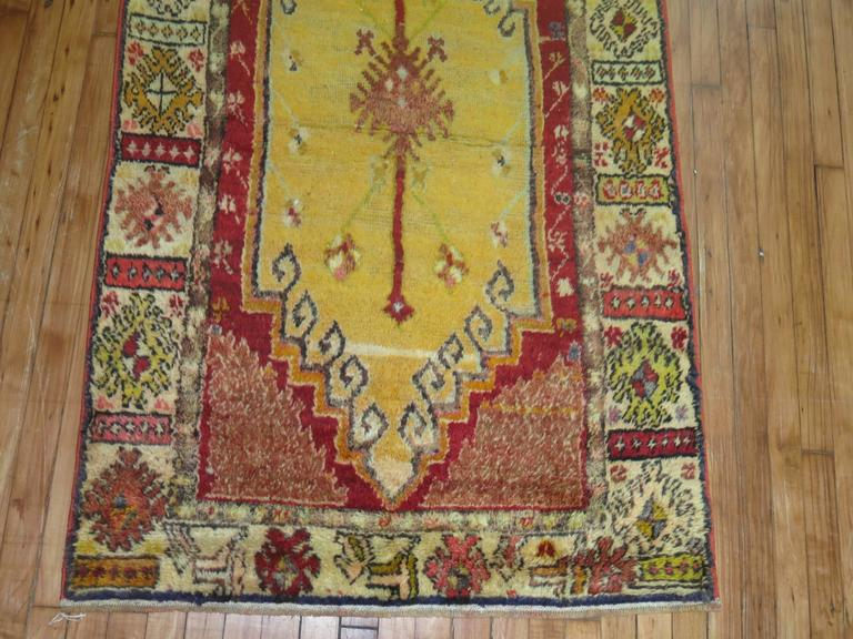 Anatolian Oushak Runner with Electric Blue and Gold Medallions 5