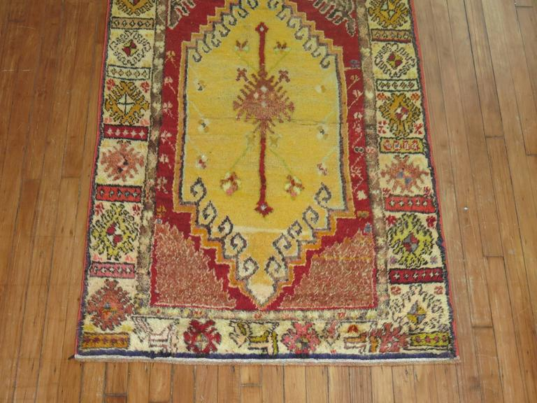 Anatolian Oushak Runner with Electric Blue and Gold Medallions 4