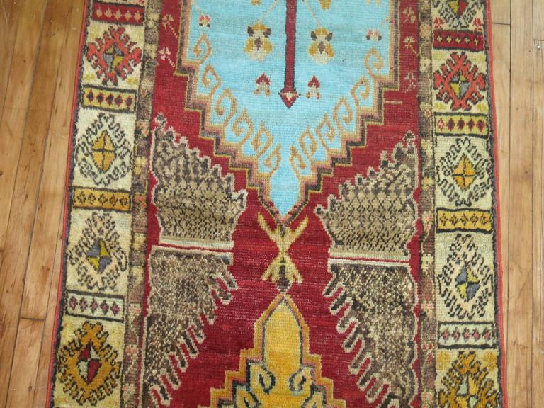 Anatolian Oushak Runner with Electric Blue and Gold Medallions 6