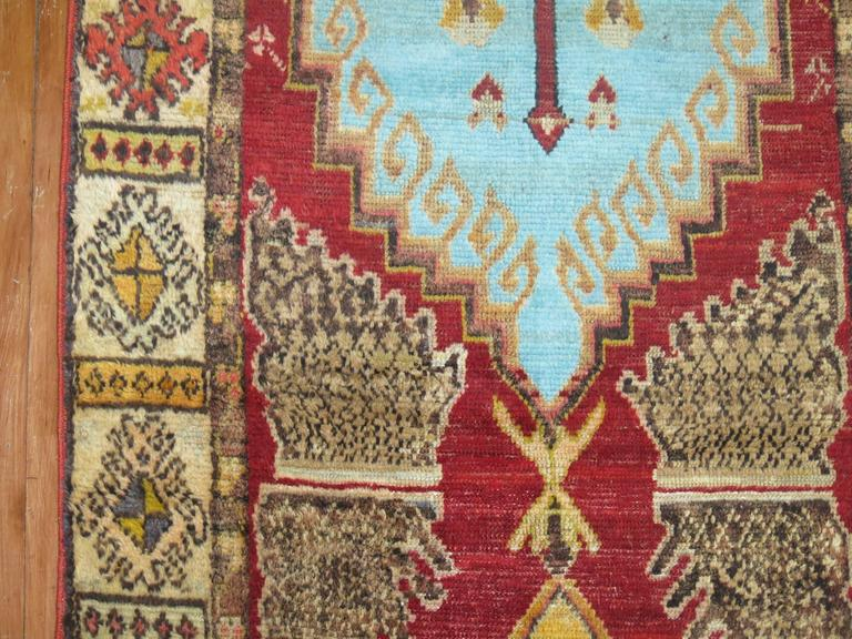 Anatolian Oushak Runner with Electric Blue and Gold Medallions 8