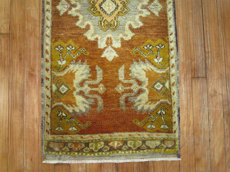 Vintage Turkish Oushak Brown and Chartruese Rug 4