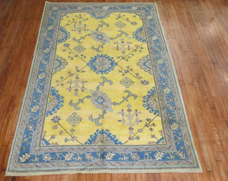 Antique Turkish Oushak in Bright Yellow 2