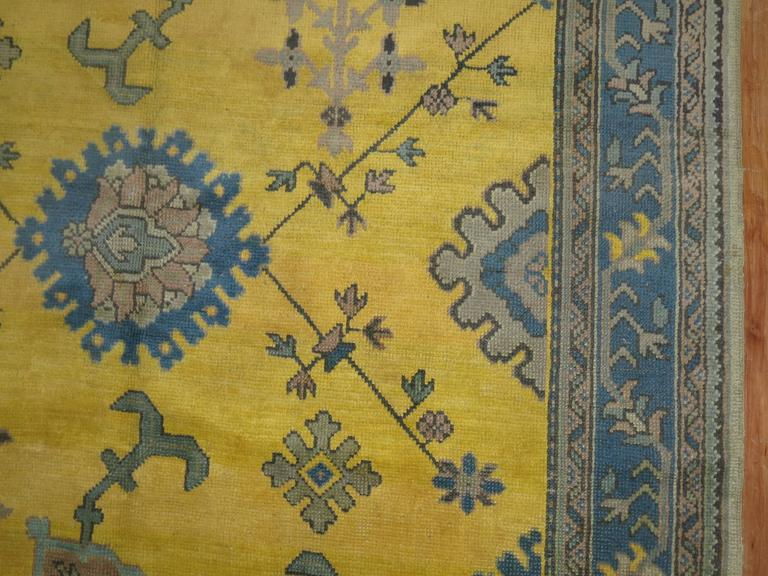 Antique Turkish Oushak in Bright Yellow 3