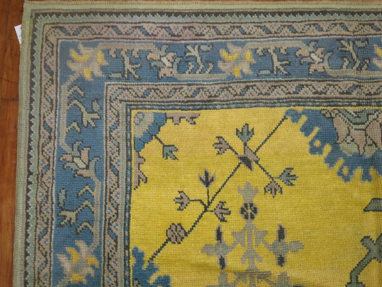 Antique Turkish Oushak in Bright Yellow 4