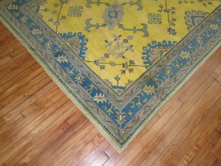 Antique Turkish Oushak in Bright Yellow 5