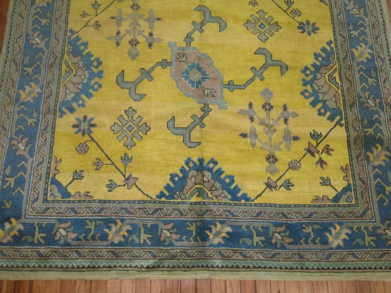 Antique Turkish Oushak in Bright Yellow 6